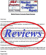 A&A Market Drayton Computer Repair Customer Letters, Reviews